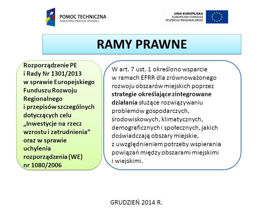 RAMY PRAWNE GRUDZIEŃ 2014 R. Rozporządzenie PE i Rady Nr 1301/2013 w sprawie Europejskiego Funduszu Rozwoju Regionalnego i przepisów szczególnych doty