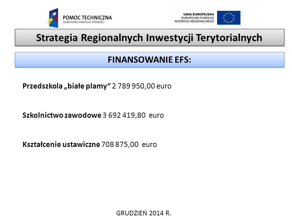 """Strategia Regionalnych Inwestycji Terytorialnych GRUDZIEŃ 2014 R. FINANSOWANIE EFS: Przedszkola """"białe plamy"""" 2 789 950,00 euro Szkolnictwo zawodowe 3"""