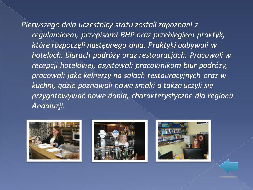 Pierwszego dnia uczestnicy stażu zostali zapoznani z regulaminem, przepisami BHP oraz przebiegiem praktyk, które rozpoczęli następnego dnia.