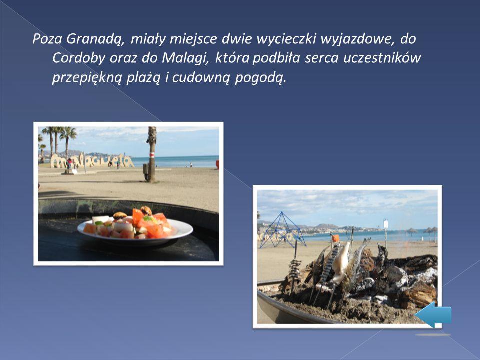 Poza Granadą, miały miejsce dwie wycieczki wyjazdowe, do Cordoby oraz do Malagi, która podbiła serca uczestników przepiękną plażą i cudowną pogodą.
