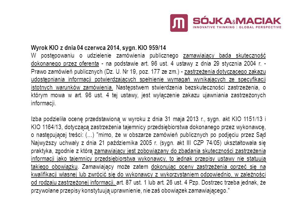 Wyrok KIO z dnia 04 czerwca 2014, sygn.
