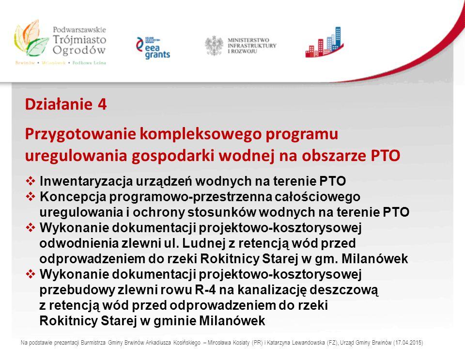 Działanie 4 Przygotowanie kompleksowego programu uregulowania gospodarki wodnej na obszarze PTO  Inwentaryzacja urządzeń wodnych na terenie PTO  Koncepcja programowo-przestrzenna całościowego uregulowania i ochrony stosunków wodnych na terenie PTO  Wykonanie dokumentacji projektowo-kosztorysowej odwodnienia zlewni ul.