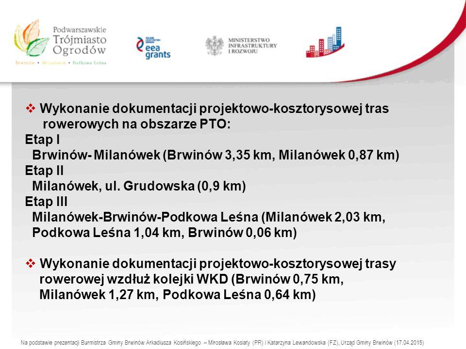  Wykonanie dokumentacji projektowo-kosztorysowej tras rowerowych na obszarze PTO: Etap I Brwinów- Milanówek (Brwinów 3,35 km, Milanówek 0,87 km) Etap II Milanówek, ul.