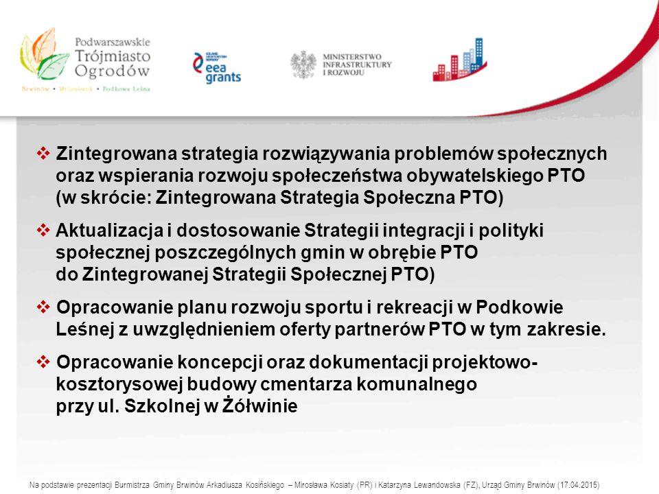  Zintegrowana strategia rozwiązywania problemów społecznych oraz wspierania rozwoju społeczeństwa obywatelskiego PTO (w skrócie: Zintegrowana Strategia Społeczna PTO)  Aktualizacja i dostosowanie Strategii integracji i polityki społecznej poszczególnych gmin w obrębie PTO do Zintegrowanej Strategii Społecznej PTO)  Opracowanie planu rozwoju sportu i rekreacji w Podkowie Leśnej z uwzględnieniem oferty partnerów PTO w tym zakresie.