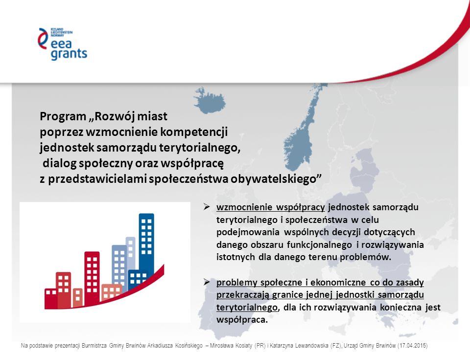 """Program """"Rozwój miast poprzez wzmocnienie kompetencji jednostek samorządu terytorialnego, dialog społeczny oraz współpracę z przedstawicielami społeczeństwa obywatelskiego  wzmocnienie współpracy jednostek samorządu terytorialnego i społeczeństwa w celu podejmowania wspólnych decyzji dotyczących danego obszaru funkcjonalnego i rozwiązywania istotnych dla danego terenu problemów."""