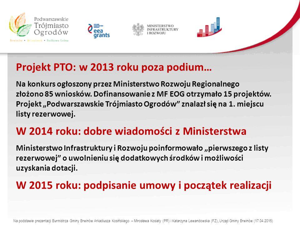 Projekt PTO: w 2013 roku poza podium… Na konkurs ogłoszony przez Ministerstwo Rozwoju Regionalnego złożono 85 wniosków.
