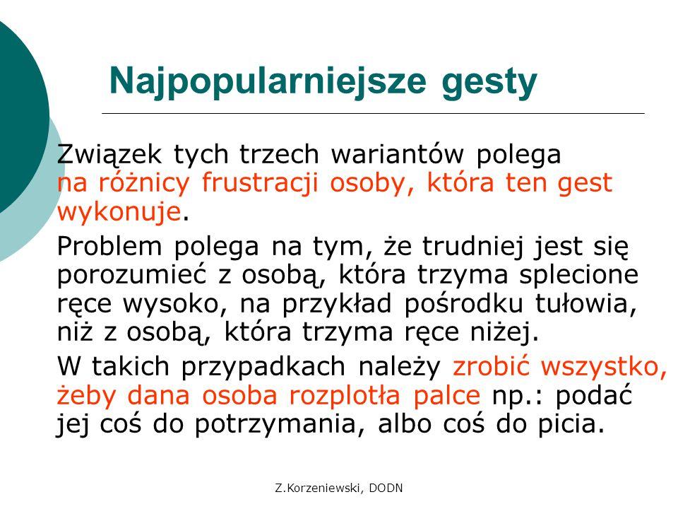 Z.Korzeniewski, DODN Najpopularniejsze gesty Związek tych trzech wariantów polega na różnicy frustracji osoby, która ten gest wykonuje. Problem polega