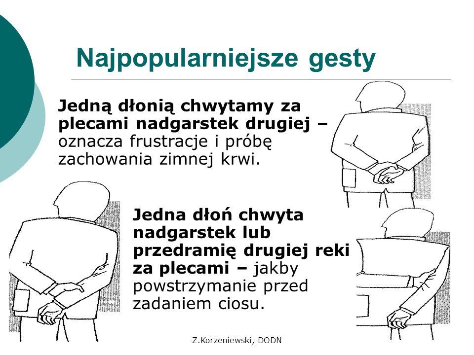 Z.Korzeniewski, DODN Najpopularniejsze gesty Jedną dłonią chwytamy za plecami nadgarstek drugiej – oznacza frustracje i próbę zachowania zimnej krwi.