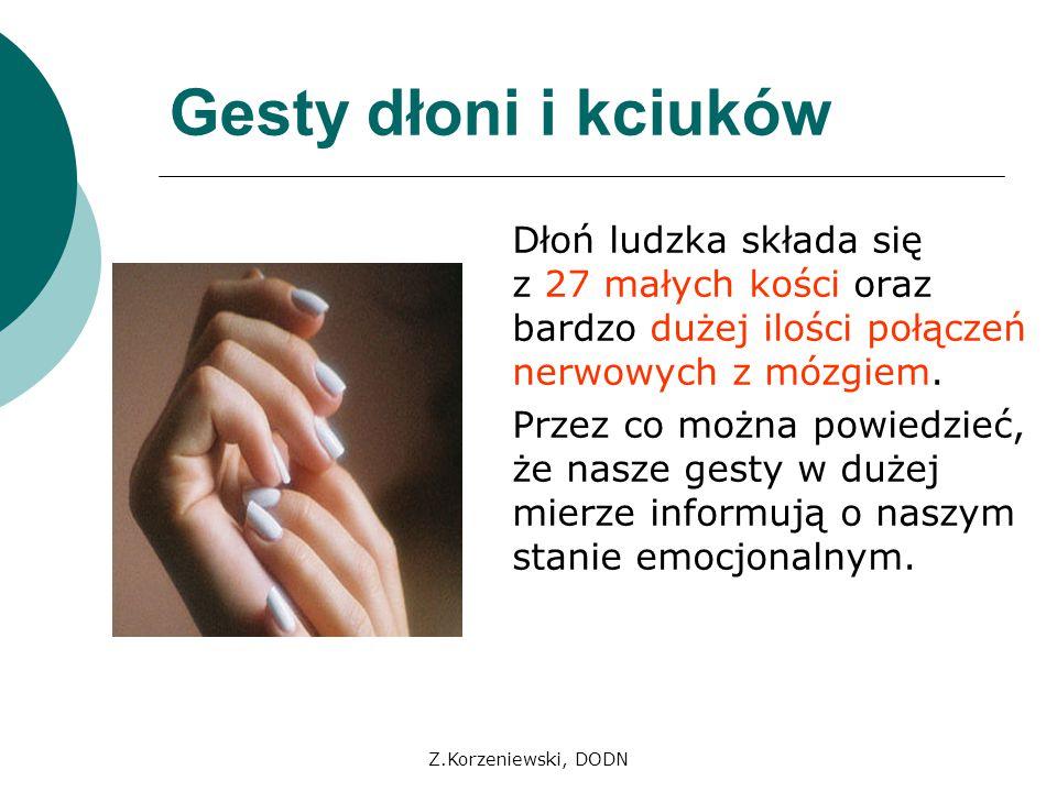 Z.Korzeniewski, DODN Gesty dłoni i kciuków Sygnały dłoni są bardzo widoczne, ponieważ zazwyczaj dłonie eksponujemy z przodu naszej sylwetki.