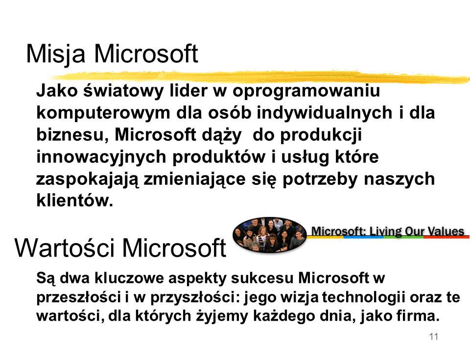 10 Microsoft Wizja Microsoft Wizją Microsoft jest wzmocnienie pozycji człowieka poprzez wyposażenie go w świetne oprogramowanie – w każdym czasie, w każdym miejscu, na każdym sprzęcie.