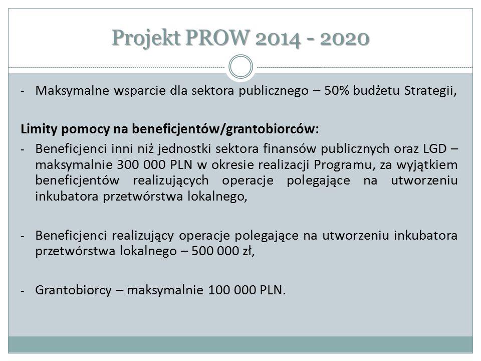 Projekt PROW 2014 - 2020 - Maksymalne wsparcie dla sektora publicznego – 50% budżetu Strategii, Limity pomocy na beneficjentów/grantobiorców: - Benefi