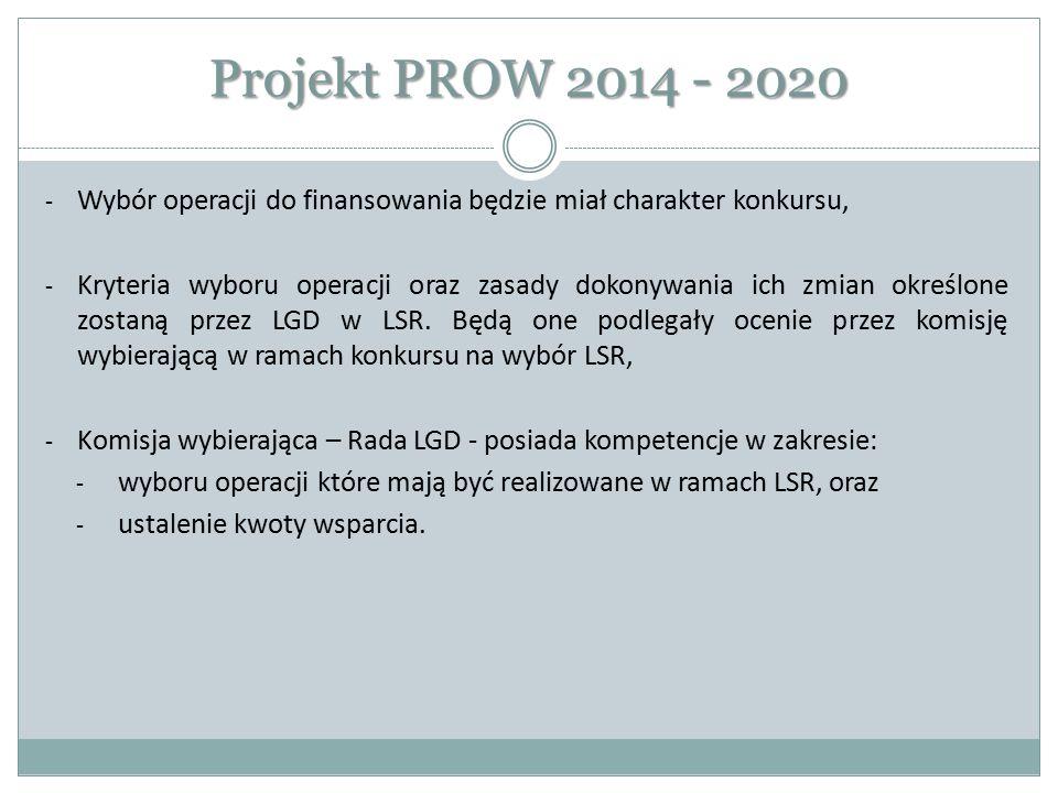 Projekt PROW 2014 - 2020 - Wybór operacji do finansowania będzie miał charakter konkursu, - Kryteria wyboru operacji oraz zasady dokonywania ich zmian