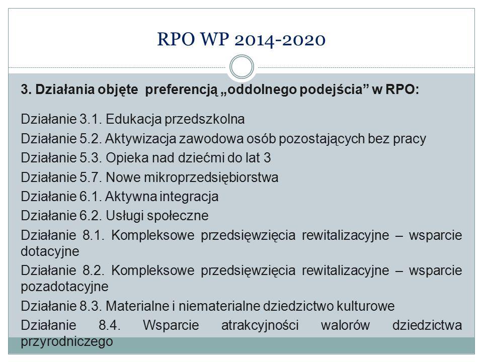"""RPO WP 2014-2020 3. Działania objęte preferencją """"oddolnego podejścia"""" w RPO: Działanie 3.1. Edukacja przedszkolna Działanie 5.2. Aktywizacja zawodowa"""
