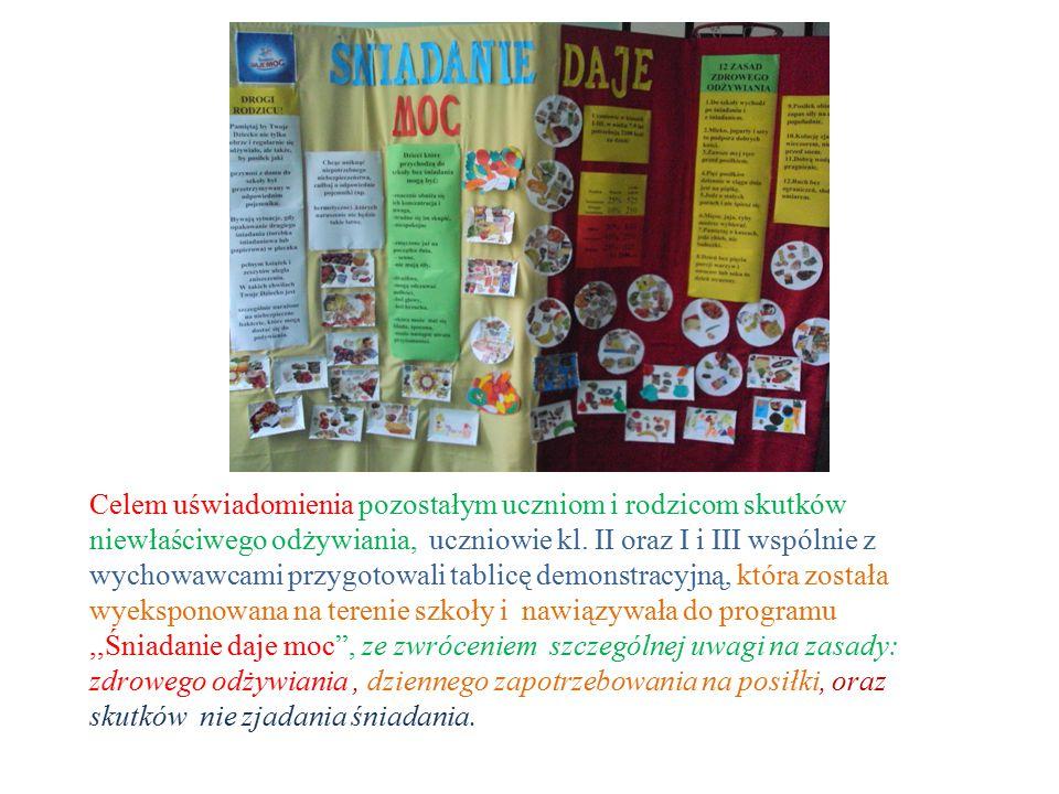 Celem uświadomienia pozostałym uczniom i rodzicom skutków niewłaściwego odżywiania, uczniowie kl.