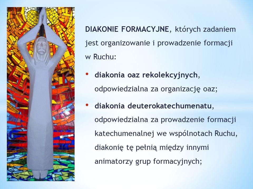DIAKONIE FORMACYJNE, których zadaniem jest organizowanie i prowadzenie formacji w Ruchu: diakonia oaz rekolekcyjnych, odpowiedzialna za organizację oa