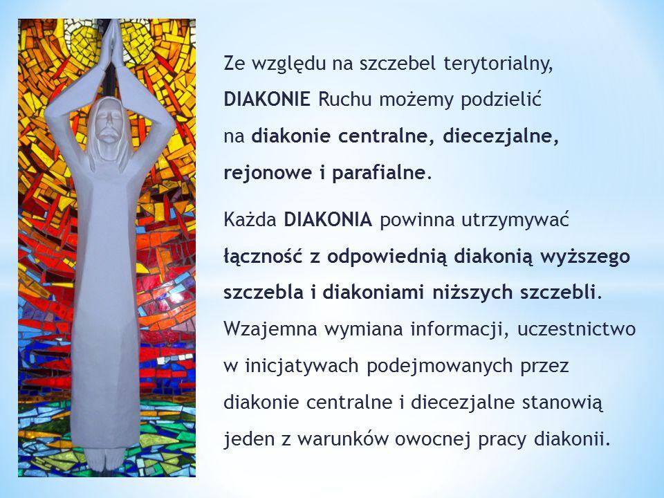 Ze względu na szczebel terytorialny, DIAKONIE Ruchu możemy podzielić na diakonie centralne, diecezjalne, rejonowe i parafialne. Każda DIAKONIA powinna