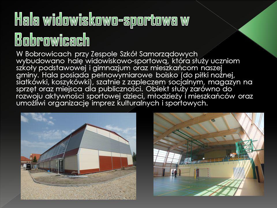 W Bobrowicach przy Zespole Szkół Samorządowych wybudowano halę widowiskowo-sportową, która służy uczniom szkoły podstawowej i gimnazjum oraz mieszkańc