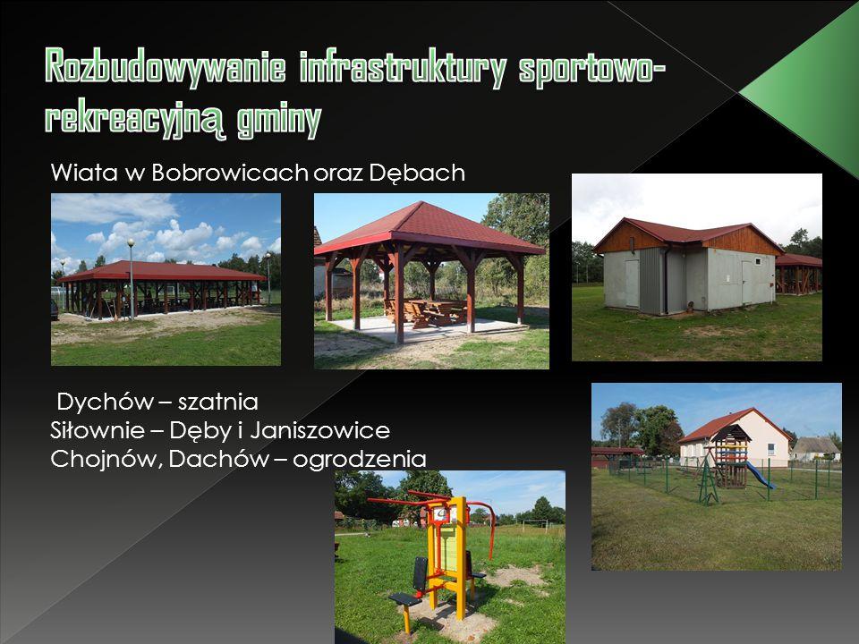 Wiata w Bobrowicach oraz Dębach Dychów – szatnia Siłownie – Dęby i Janiszowice Chojnów, Dachów – ogrodzenia