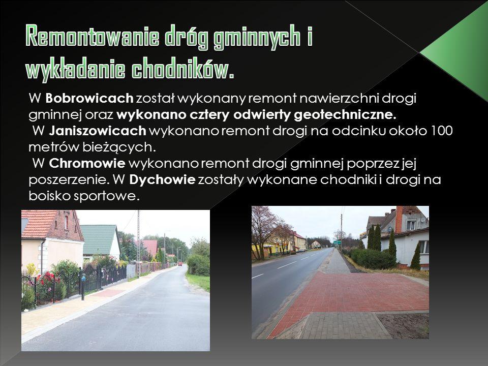 W Bobrowicach został wykonany remont nawierzchni drogi gminnej oraz wykonano cztery odwierty geotechniczne. W Janiszowicach wykonano remont drogi na o