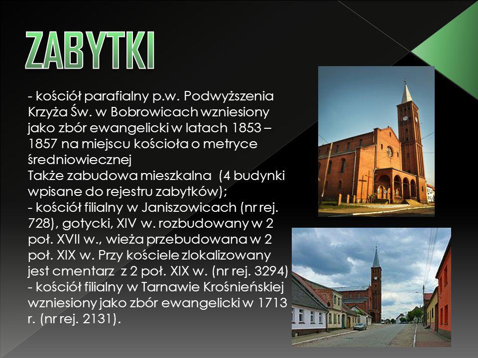- kościół parafialny p.w. Podwyższenia Krzyża Św. w Bobrowicach wzniesiony jako zbór ewangelicki w latach 1853 – 1857 na miejscu kościoła o metryce śr