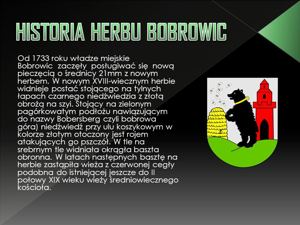 Od 1733 roku władze miejskie Bobrowic zaczęły posługiwać się nową pieczęcią o średnicy 21mm z nowym herbem. W nowym XVIII-wiecznym herbie widnieje pos