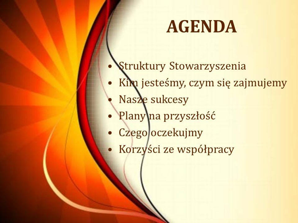 AGENDA Struktury Stowarzyszenia Kim jesteśmy, czym się zajmujemy Nasze sukcesy Plany na przyszłość Czego oczekujmy Korzyści ze współpracy