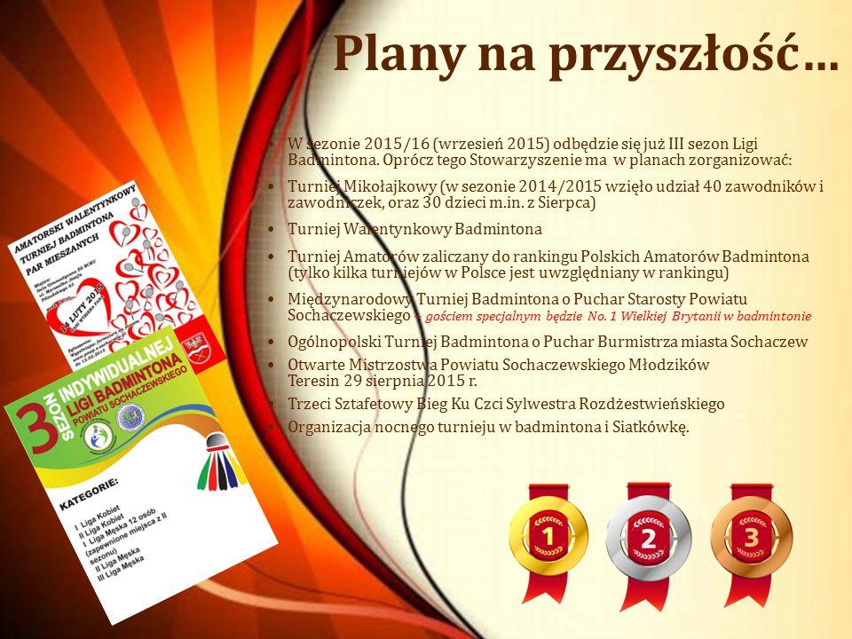 Plany na przyszłość… W sezonie 2015/16 (wrzesień 2015) odbędzie się już III sezon Ligi Badmintona. Oprócz tego Stowarzyszenie ma w planach zorganizowa