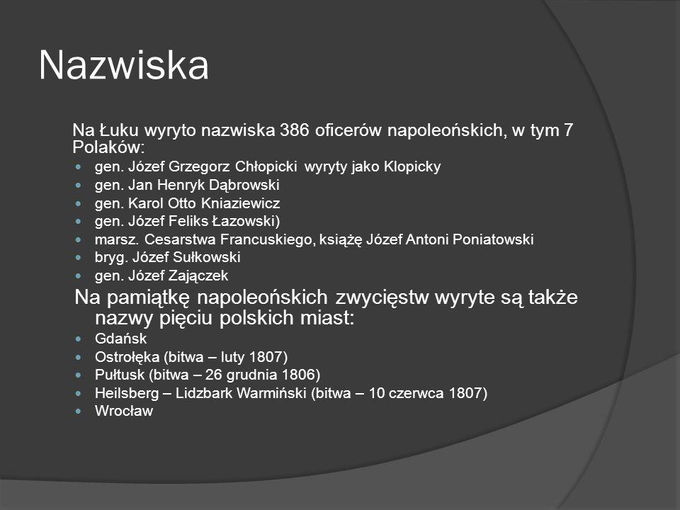 Nazwiska Na Łuku wyryto nazwiska 386 oficerów napoleońskich, w tym 7 Polaków: gen. Józef Grzegorz Chłopicki wyryty jako Klopicky gen. Jan Henryk Dąbro