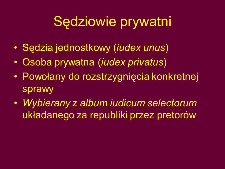 Sędziowie prywatni Sędzia jednostkowy (iudex unus) Osoba prywatna (iudex privatus) Powołany do rozstrzygnięcia konkretnej sprawy Wybierany z album iudicum selectorum układanego za republiki przez pretorów
