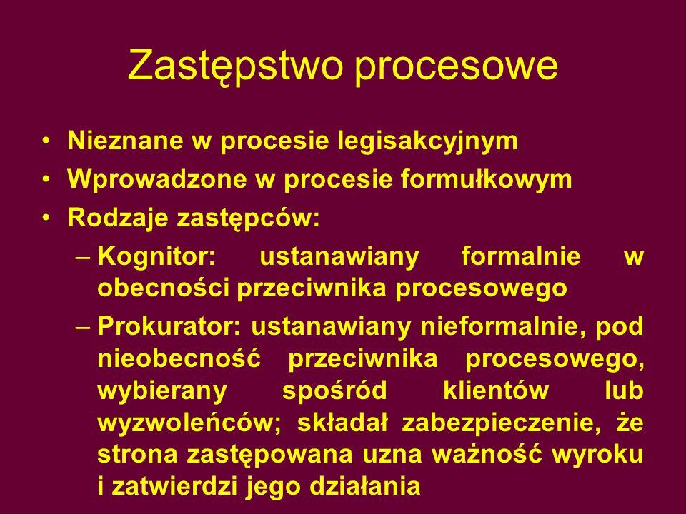 Kontradyktoryjność Proces oparty był na sprzecznych twierdzeniach stron Zasada Ne eat iudex ultra petita partium Strony decydowały samodzielnie o losach postępowania i stawianych wnioskach dowodowych