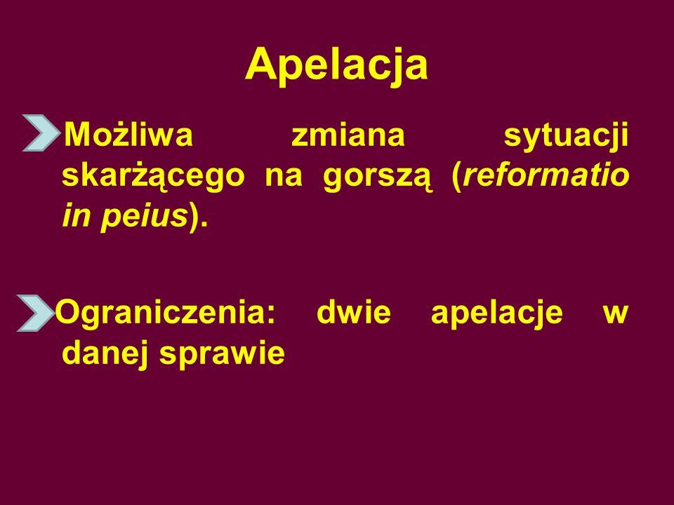 Apelacja Możliwa zmiana sytuacji skarżącego na gorszą (reformatio in peius).