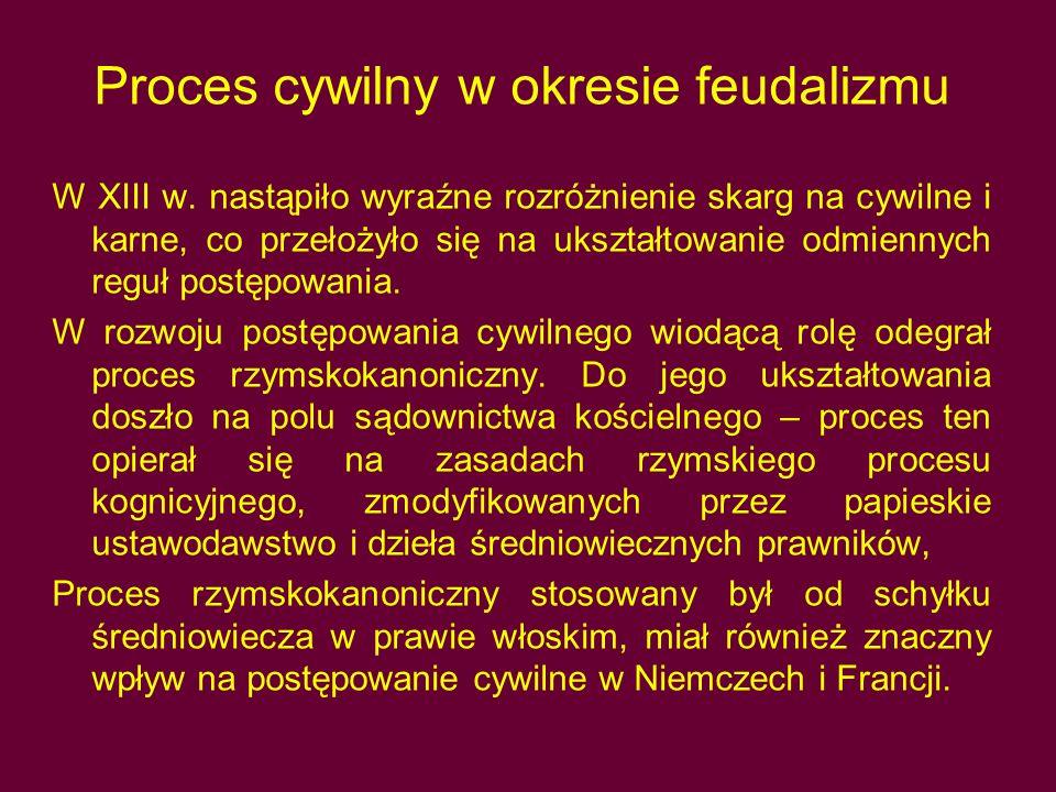 Proces cywilny w okresie feudalizmu W XIII w.