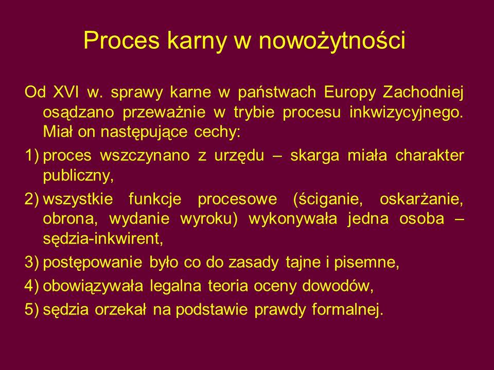 Proces karny w nowożytności Od XVI w.