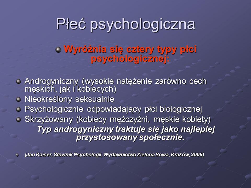 Płeć psychologiczna Wyróżnia się cztery typy płci psychologicznej: Androgyniczny (wysokie natężenie zarówno cech męskich, jak i kobiecych) Nieokreślon