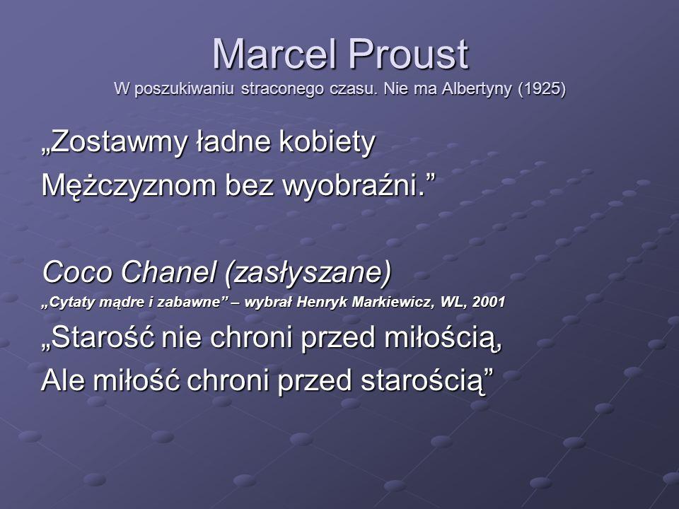 """Marcel Proust W poszukiwaniu straconego czasu. Nie ma Albertyny (1925) """"Zostawmy ładne kobiety Mężczyznom bez wyobraźni."""" Coco Chanel (zasłyszane) """"Cy"""