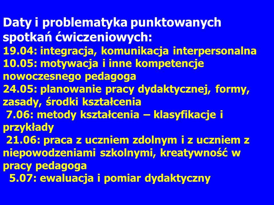 Daty i problematyka punktowanych spotkań ćwiczeniowych: 19.04: integracja, komunikacja interpersonalna 10.05: motywacja i inne kompetencje nowoczesneg