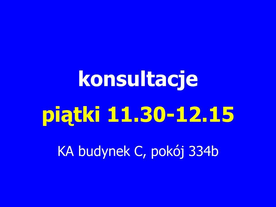 konsultacje piątki 11.30-12.15 KA budynek C, pokój 334b