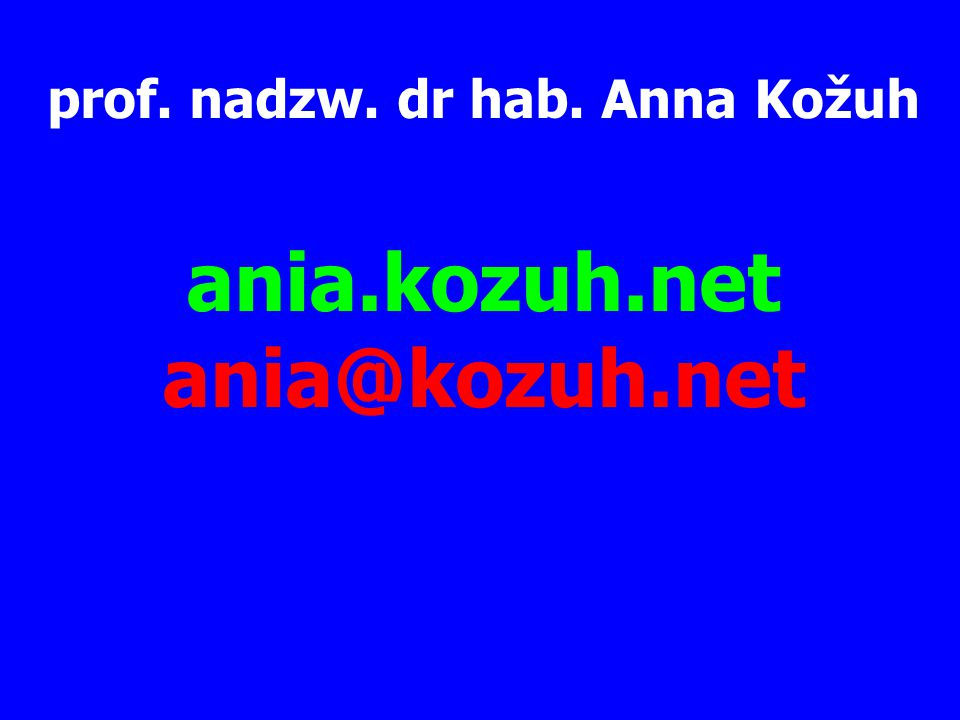 prof. nadzw. dr hab. Anna Kožuh ania.kozuh.net ania@kozuh.net