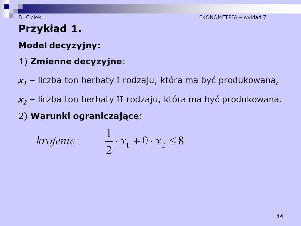 14 D. Ciołek EKONOMETRIA – wykład 7 Przykład 1. Model decyzyjny: 1) Zmienne decyzyjne: x 1 – liczba ton herbaty I rodzaju, która ma być produkowana, x