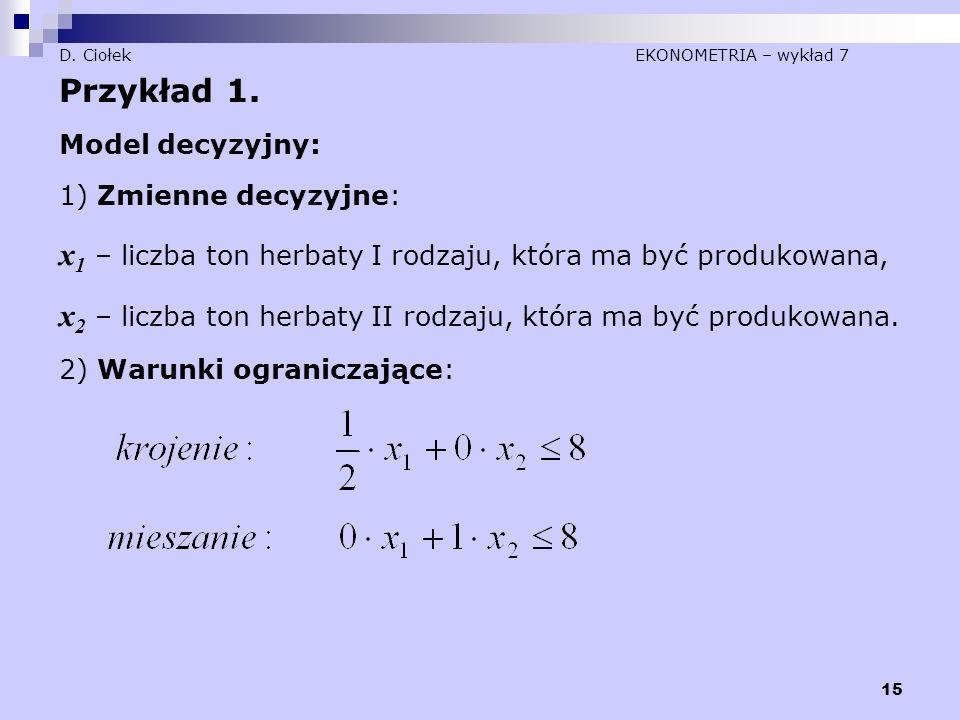 15 D. Ciołek EKONOMETRIA – wykład 7 Przykład 1. Model decyzyjny: 1) Zmienne decyzyjne: x 1 – liczba ton herbaty I rodzaju, która ma być produkowana, x