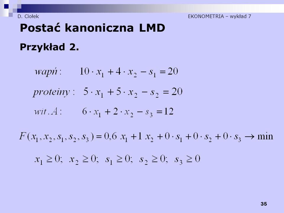 35 D. Ciołek EKONOMETRIA – wykład 7 Postać kanoniczna LMD Przykład 2.