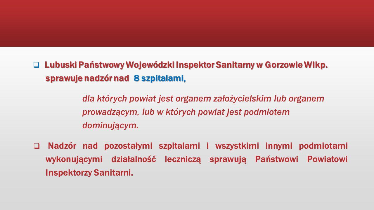 Lubuski Państwowy Wojewódzki Inspektor Sanitarny w Gorzowie Wlkp. sprawuje nadzór nad 8 szpitalami,  Lubuski Państwowy Wojewódzki Inspektor Sanitarny