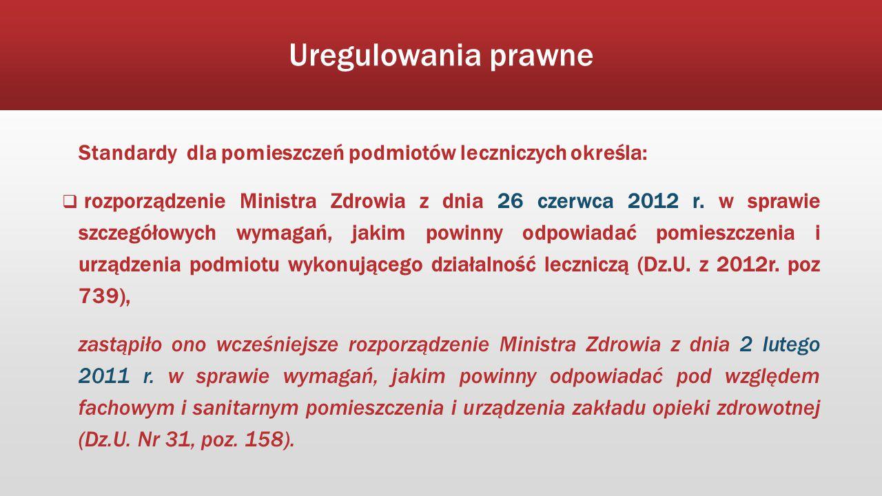 Uregulowania prawne Standardy dla pomieszczeń podmiotów leczniczych określa:  rozporządzenie Ministra Zdrowia z dnia 26 czerwca 2012 r. w sprawie szc