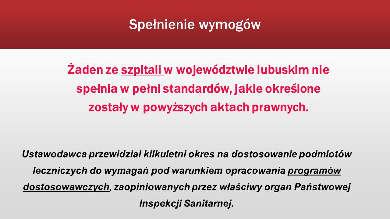 Spełnienie wymogów Żaden ze szpitali w województwie lubuskim nie spełnia w pełni standardów, jakie określone zostały w powyższych aktach prawnych. Ust