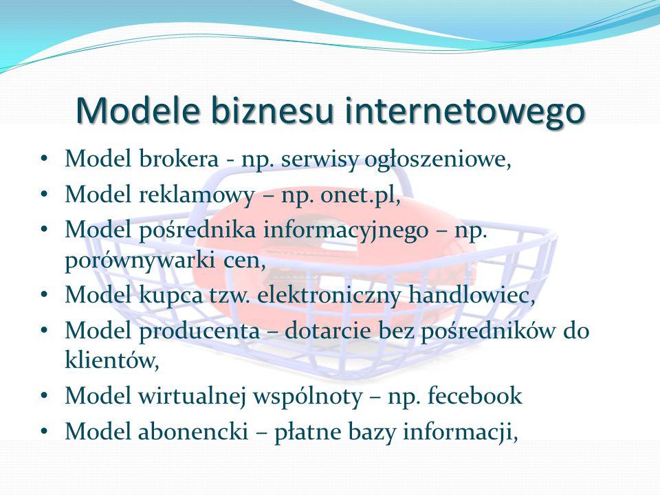Modele biznesu internetowego Model brokera - np. serwisy ogłoszeniowe, Model reklamowy – np.