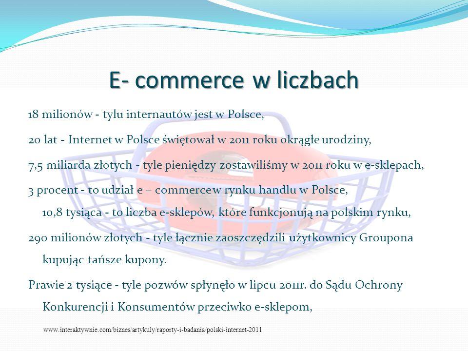 E- commerce w liczbach 18 milionów - tylu internautów jest w Polsce, 20 lat - Internet w Polsce świętował w 2011 roku okrągłe urodziny, 7,5 miliarda złotych - tyle pieniędzy zostawiliśmy w 2011 roku w e-sklepach, 3 procent - to udział e – commerce w rynku handlu w Polsce, 10,8 tysiąca - to liczba e-sklepów, które funkcjonują na polskim rynku, 290 milionów złotych - tyle łącznie zaoszczędzili użytkownicy Groupona kupując tańsze kupony.