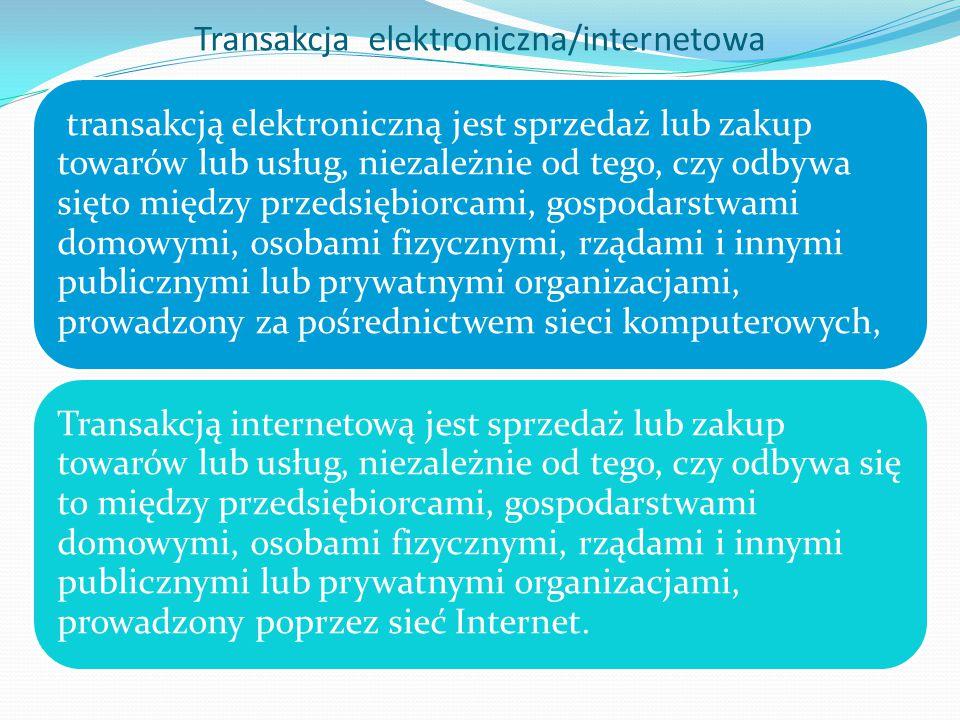 Transakcja elektroniczna/internetowa transakcją elektroniczną jest sprzedaż lub zakup towarów lub usług, niezależnie od tego, czy odbywa sięto między przedsiębiorcami, gospodarstwami domowymi, osobami fizycznymi, rządami i innymi publicznymi lub prywatnymi organizacjami, prowadzony za pośrednictwem sieci komputerowych, Transakcją internetową jest sprzedaż lub zakup towarów lub usług, niezależnie od tego, czy odbywa się to między przedsiębiorcami, gospodarstwami domowymi, osobami fizycznymi, rządami i innymi publicznymi lub prywatnymi organizacjami, prowadzony poprzez sieć Internet.