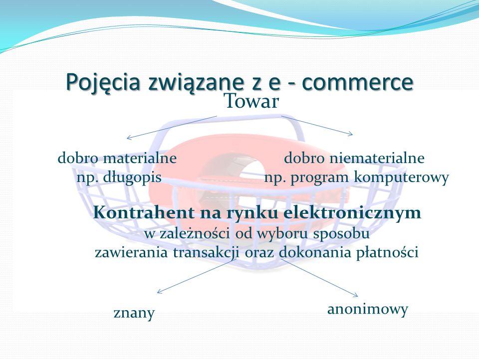 Pojęcia związane z e - commerce Towar dobro materialne np.