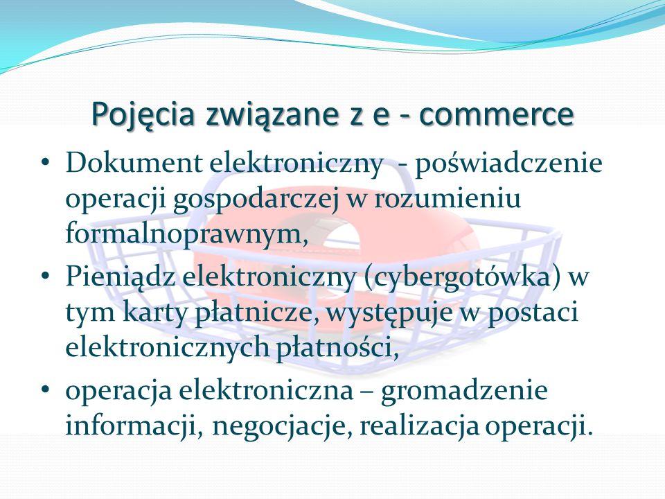 Pojęcia związane z e - commerce Dokument elektroniczny - poświadczenie operacji gospodarczej w rozumieniu formalnoprawnym, Pieniądz elektroniczny (cybergotówka) w tym karty płatnicze, występuje w postaci elektronicznych płatności, operacja elektroniczna – gromadzenie informacji, negocjacje, realizacja operacji.
