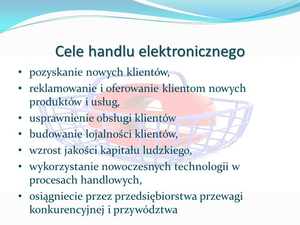 Cele handlu elektronicznego pozyskanie nowych klientów, reklamowanie i oferowanie klientom nowych produktów i usług, usprawnienie obsługi klientów budowanie lojalności klientów, wzrost jakości kapitału ludzkiego, wykorzystanie nowoczesnych technologii w procesach handlowych, osiągniecie przez przedsiębiorstwa przewagi konkurencyjnej i przywództwa